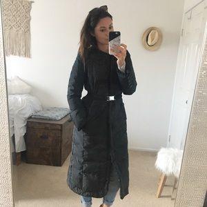 Tahari Long Belted Puffer Jacket Black XS